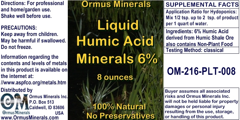 Ormus Minerals - Liquid Humic Acid Minerals 6 Percent for Plants